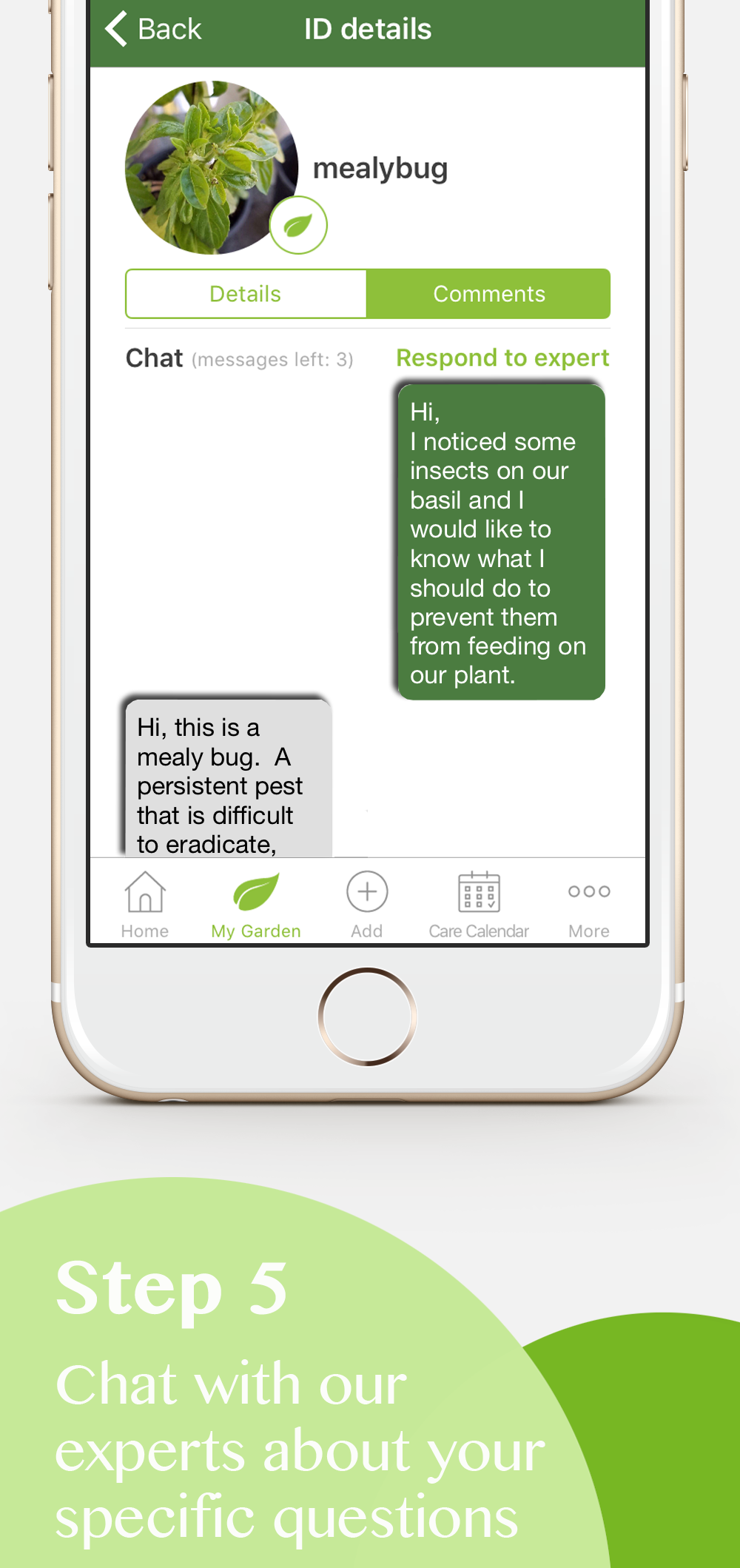 Plant care app Chat