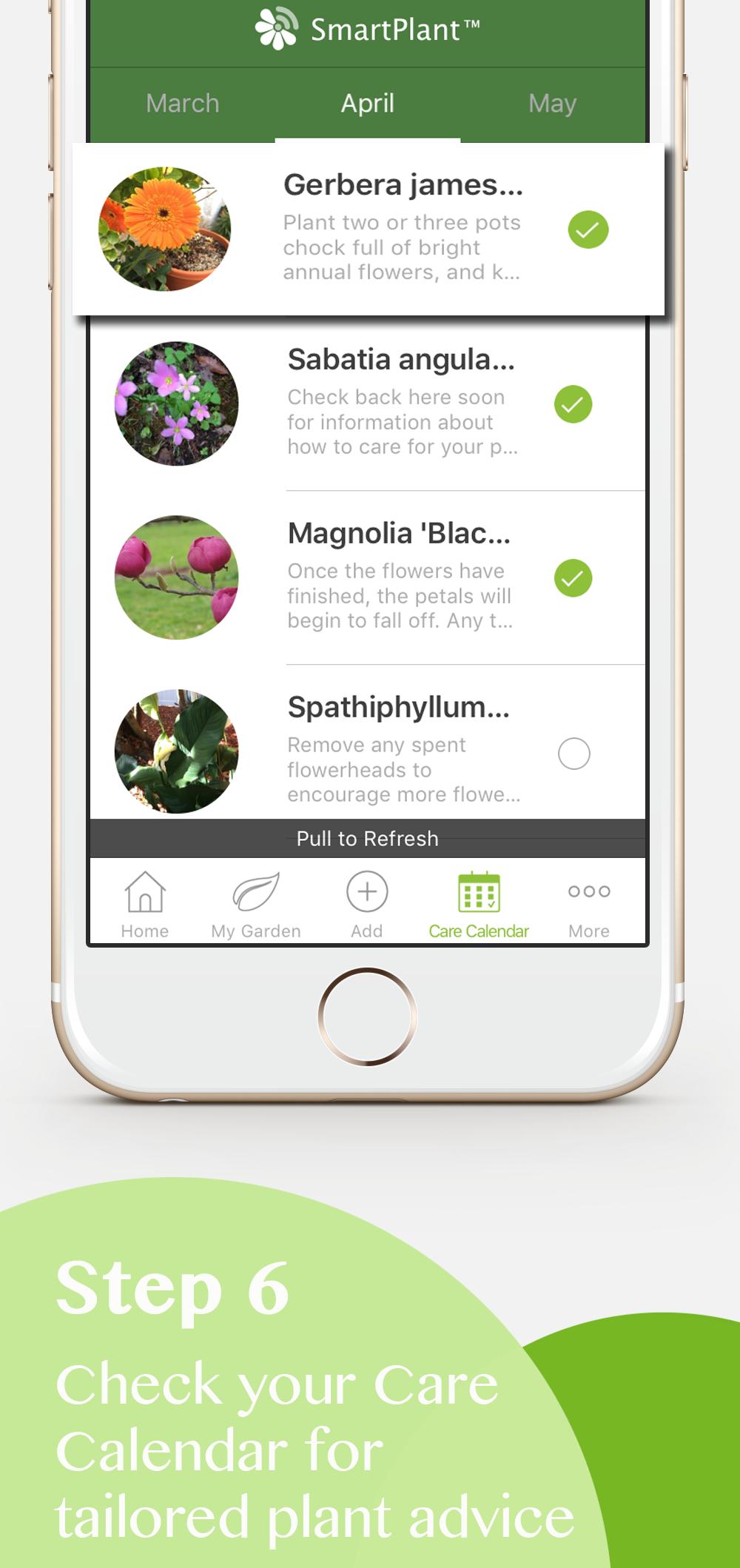 Plant care app calendar
