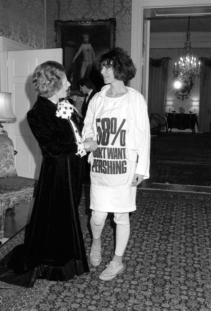 katharine-hamnett's famous slogan t-shirts moment with-margaret-thatcher